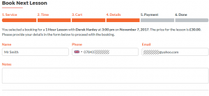 Online guitar lesson booking - step 4